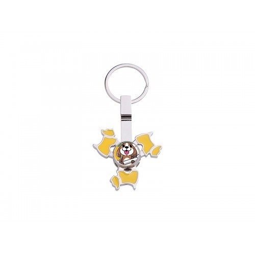 Fidget Spinner Keyring (Dog, Yellow)