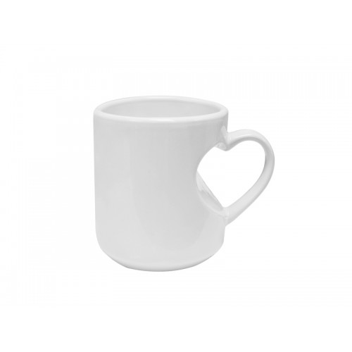 Heart Shape Handled White Mug