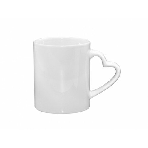 White Mug With Heart Handle