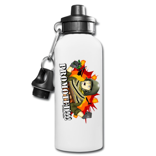 600ml White Aluminium Water Bottle with two tops